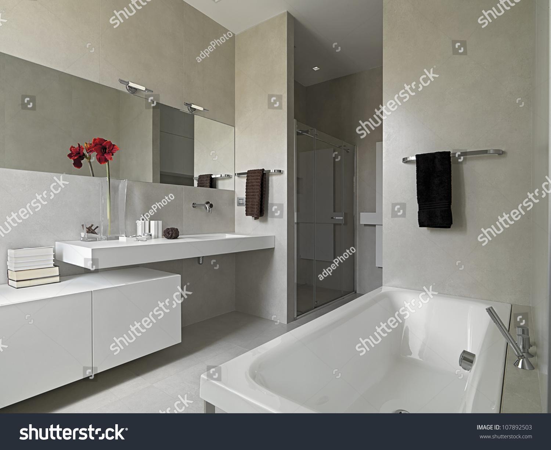 Modern Cubicle Modern Bathroom Masonry Shower Cubicle Bathtub Stock Photo