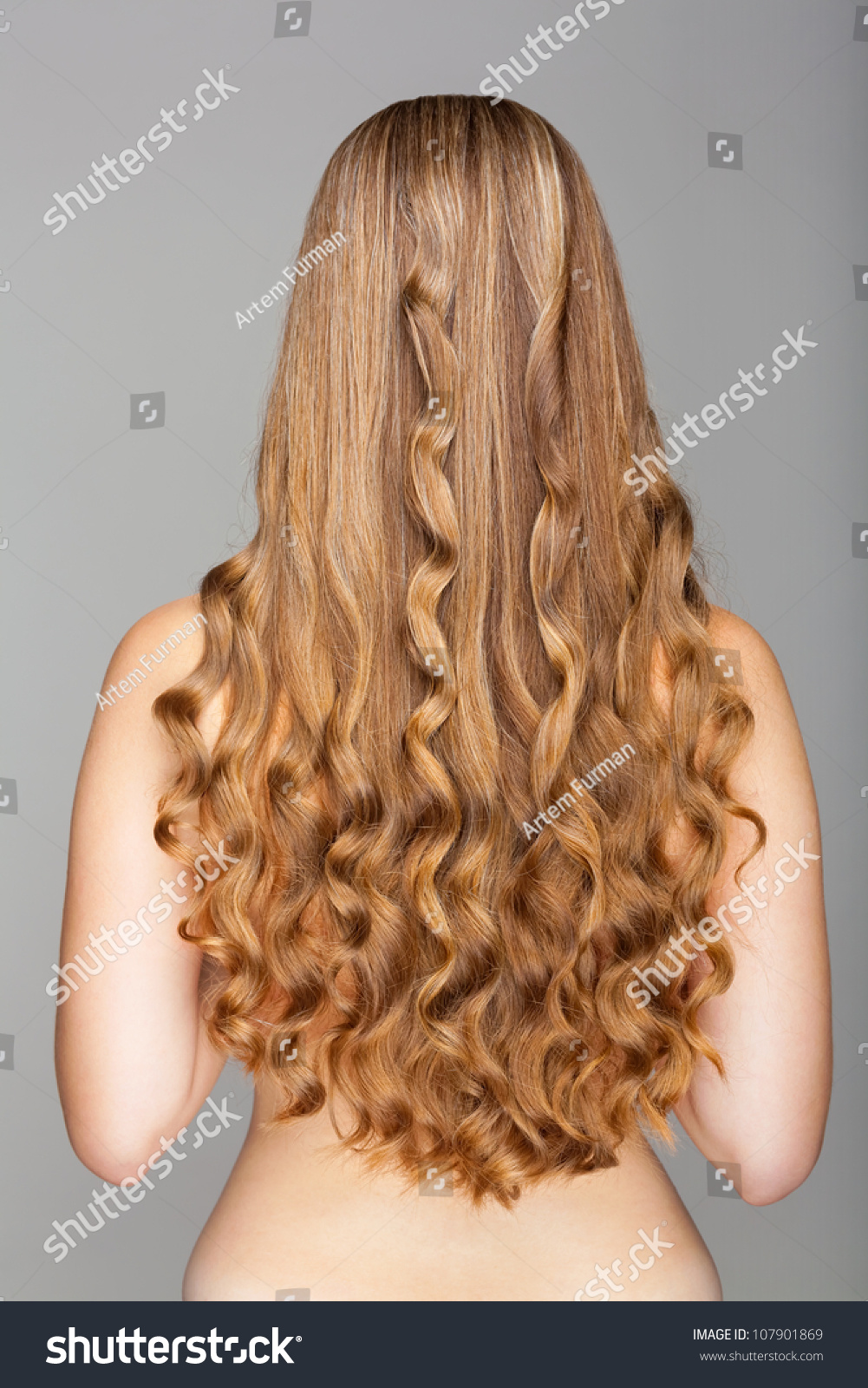 beautiful long wavy hair back view stock photo 107901869