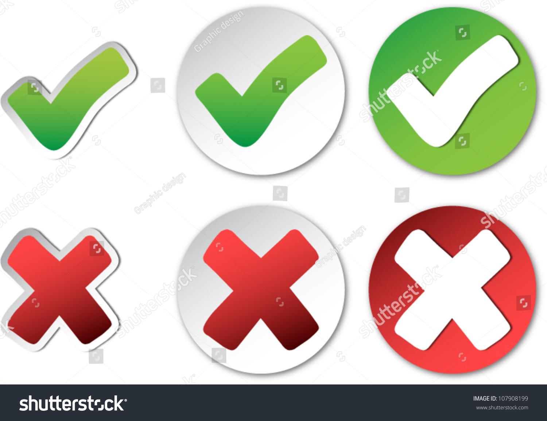 Tick Cross Check Mark Vector Stickers Stock Photo Photo Vector