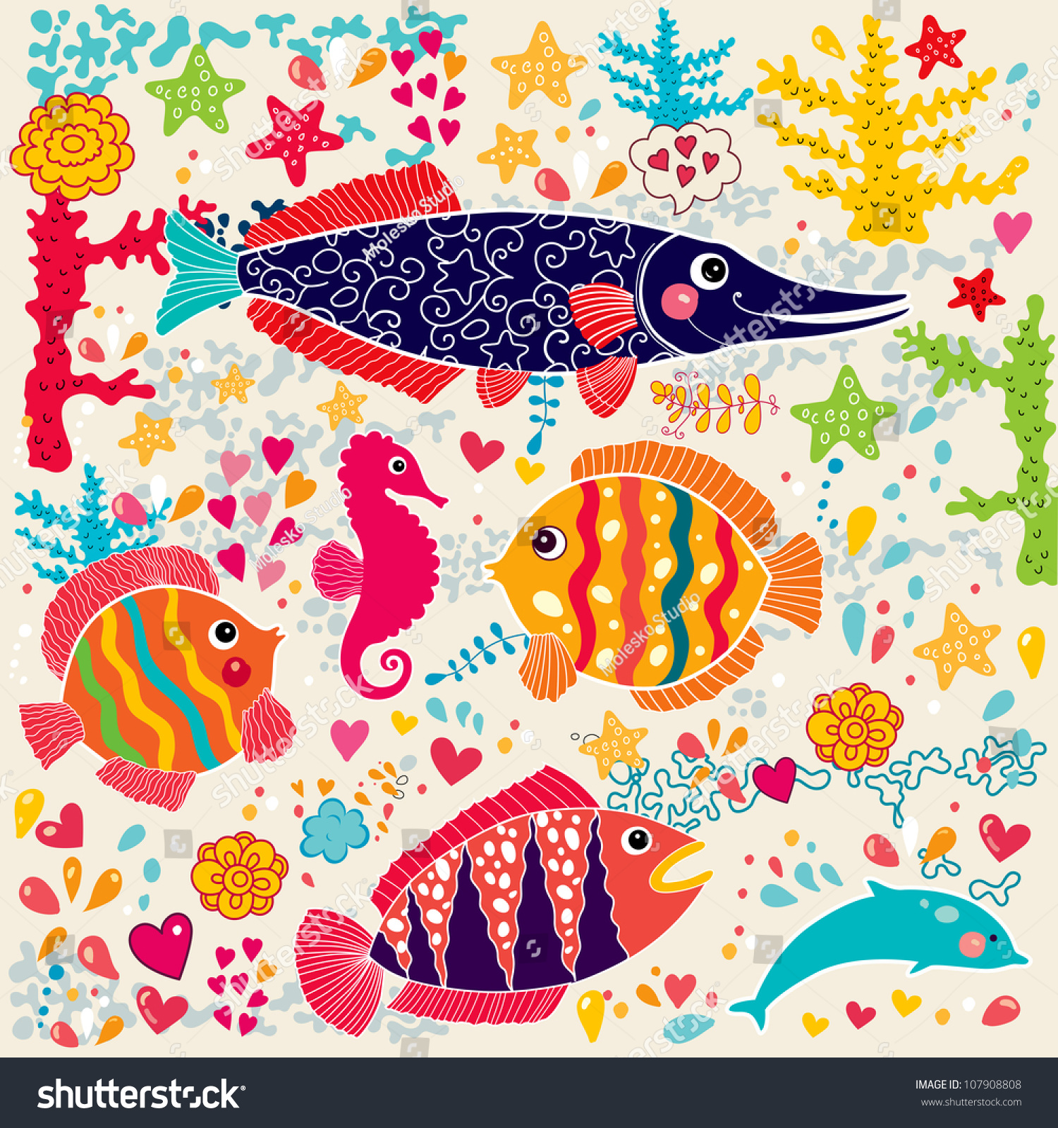 The wallpaper coloring book - Vector Wallpaper With Fish And Marine Life