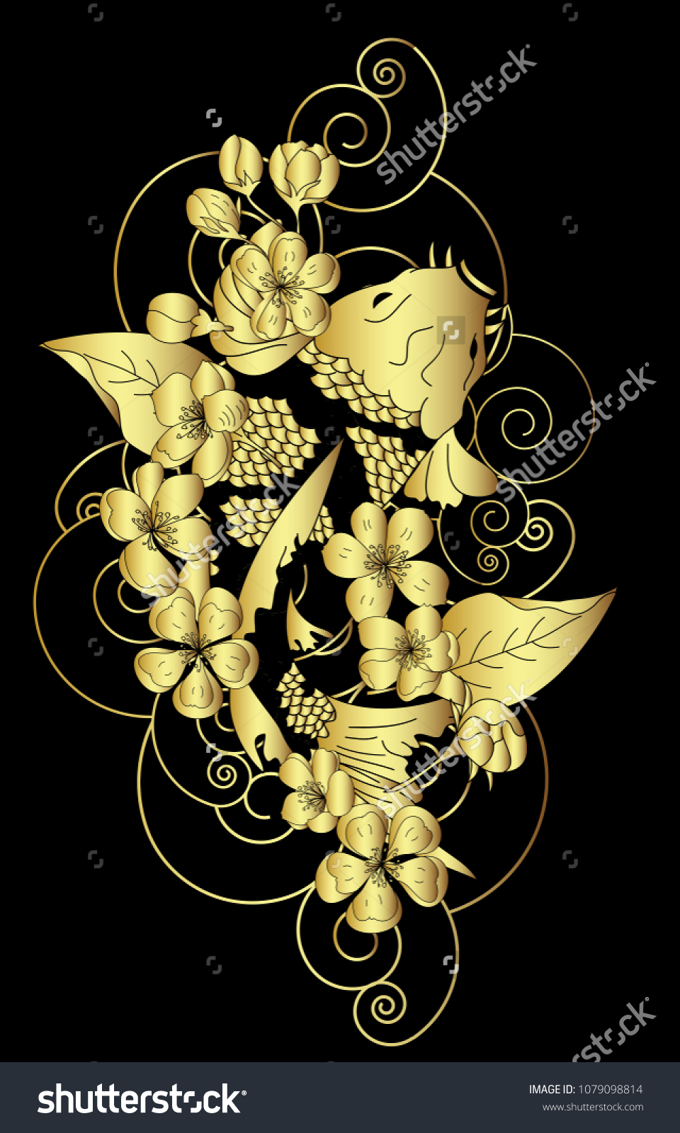 Gold Color Chinese Koi Carp Tattoo Stock Vector Royalty Free