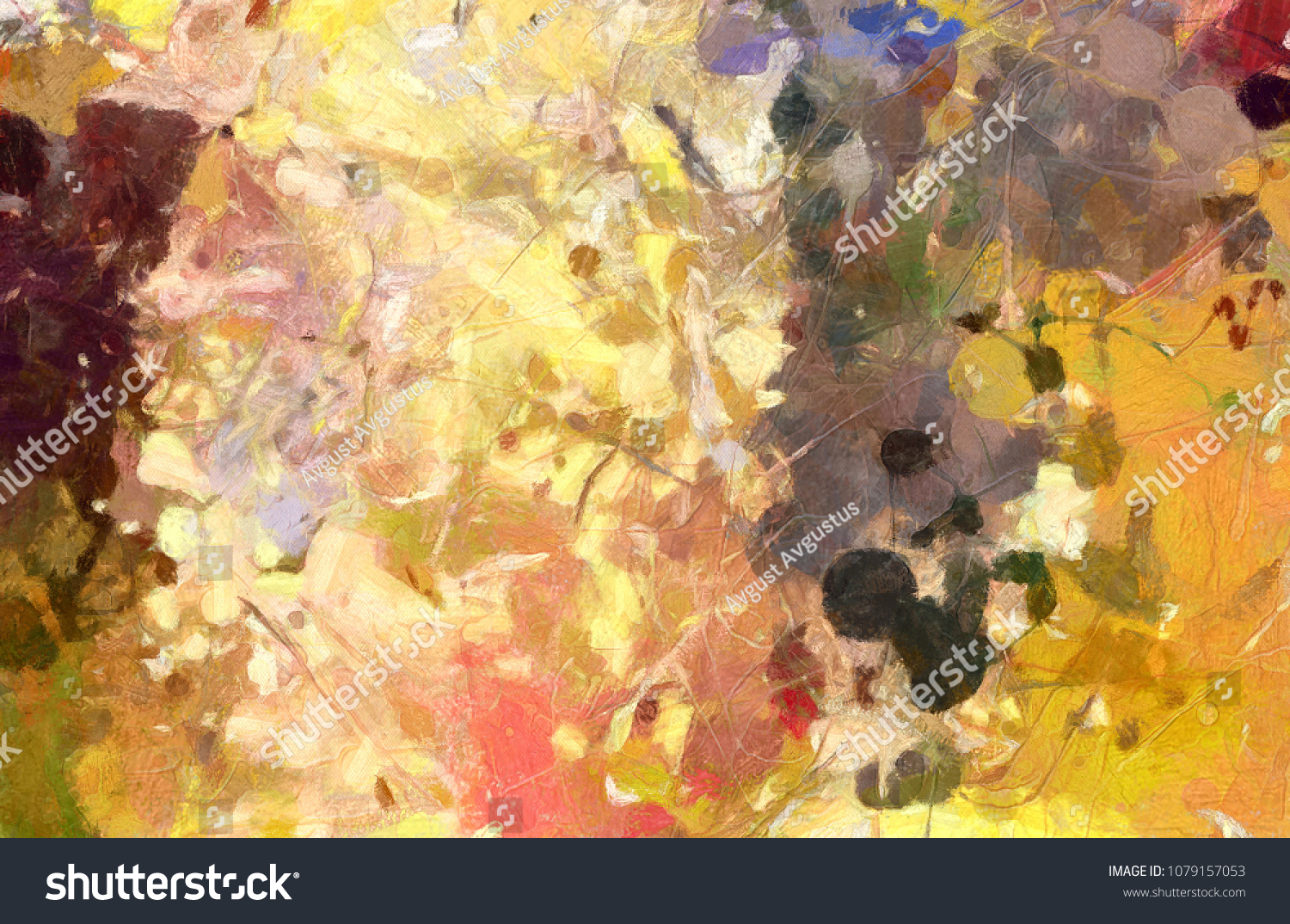 Abstract Watercolor Chaotic Splashes Color Paint Stock Illustration