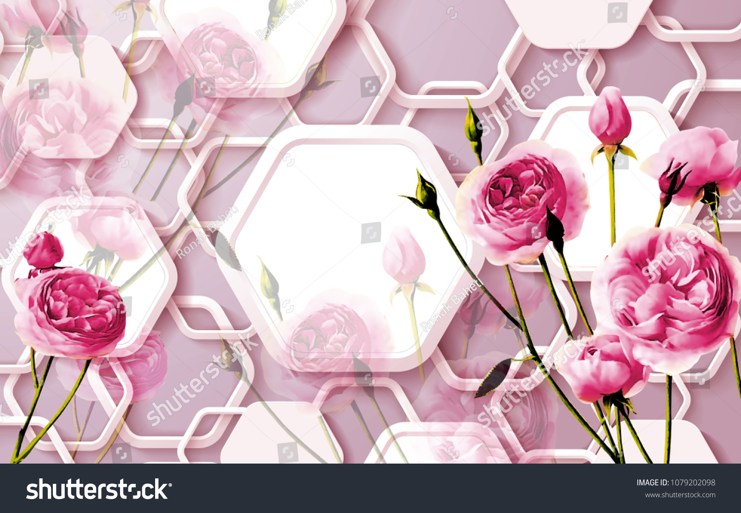 3d Floral Abstract Wallpaper Walls 3d Stock Illustration 1079202098