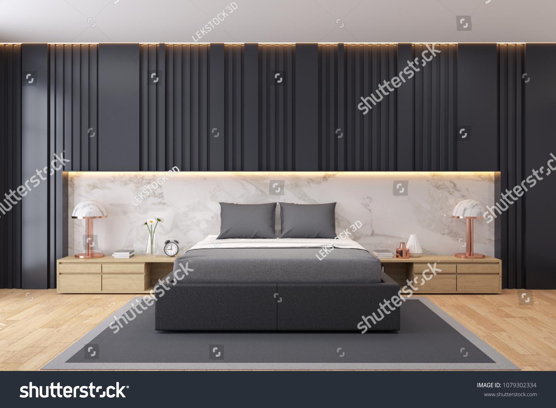Modern Luxury Black Bedroom Interior Designblack Stock Illustration 1079302334