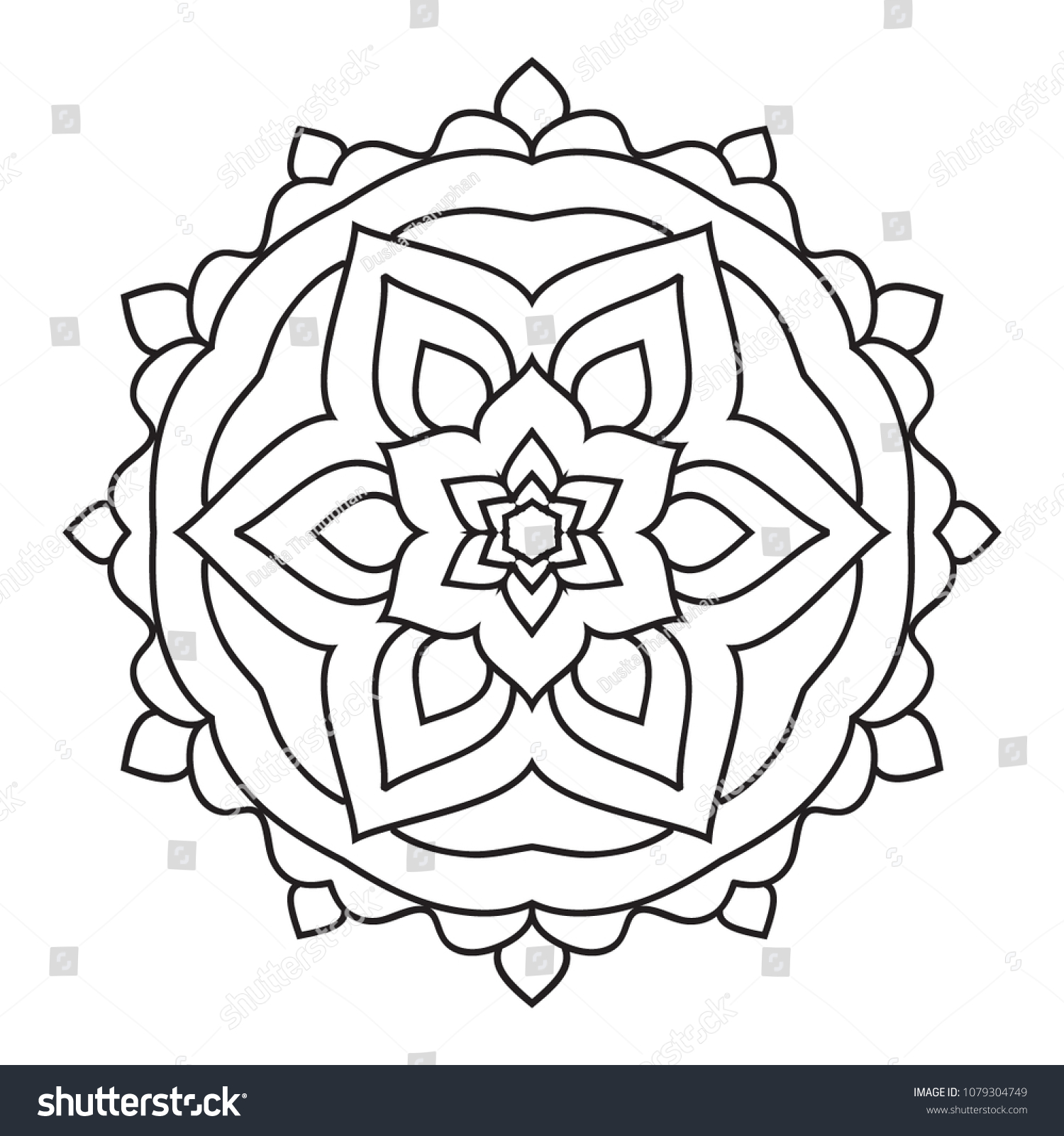 Easy Simple Mandala Coloring Pages Doodle Stock Illustration ...