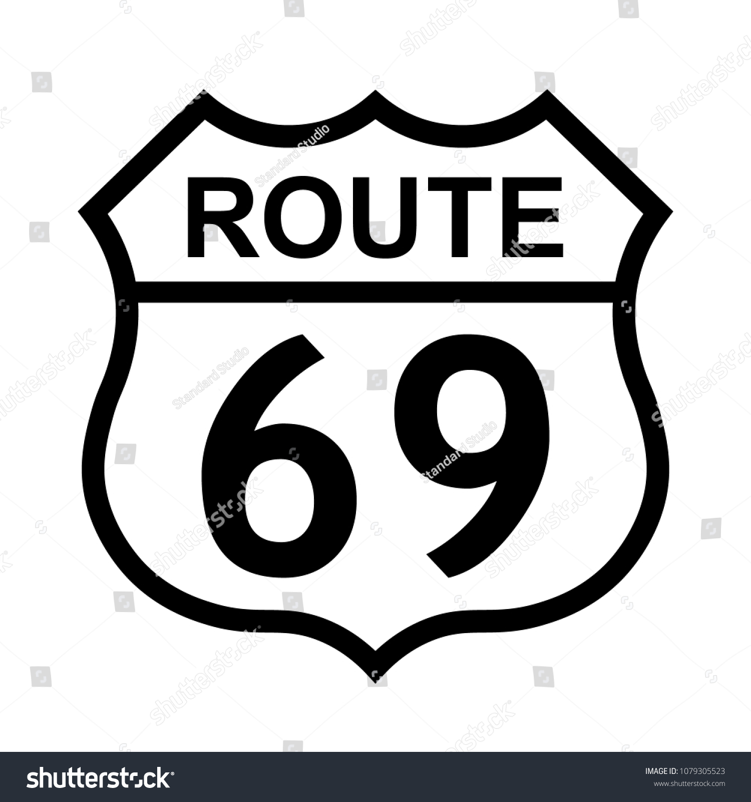 Us Route 69 Sign Shield Sign Stock Vector Royalty Free 1079305523