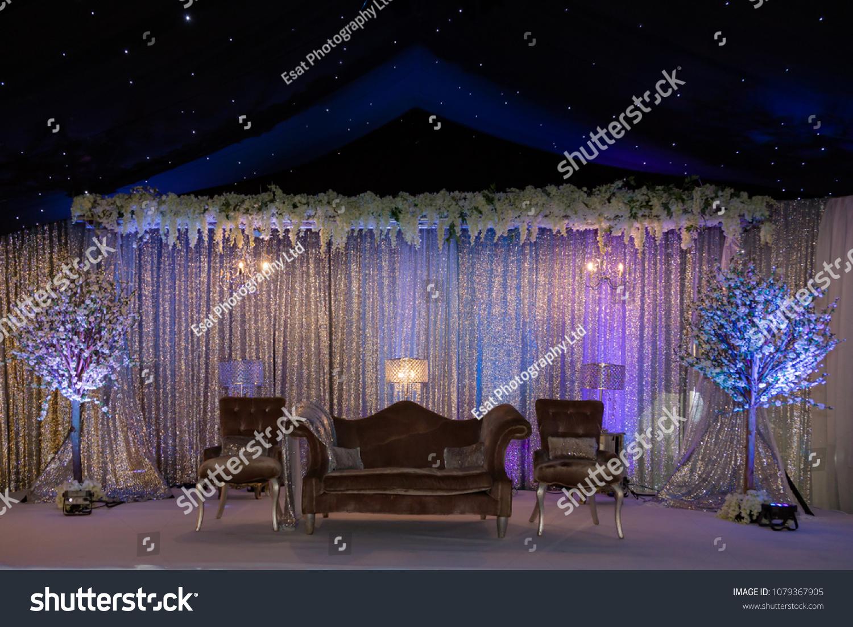 Purple Night Themed Wedding Stage Decor Stock Photo Edit Now 1079367905