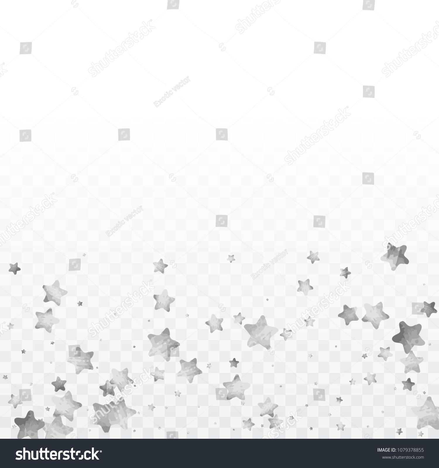 e9a0386bb42 Star silver confetti. Glitter vector celebrate background. Silver sparkles  and dots on black backdrop