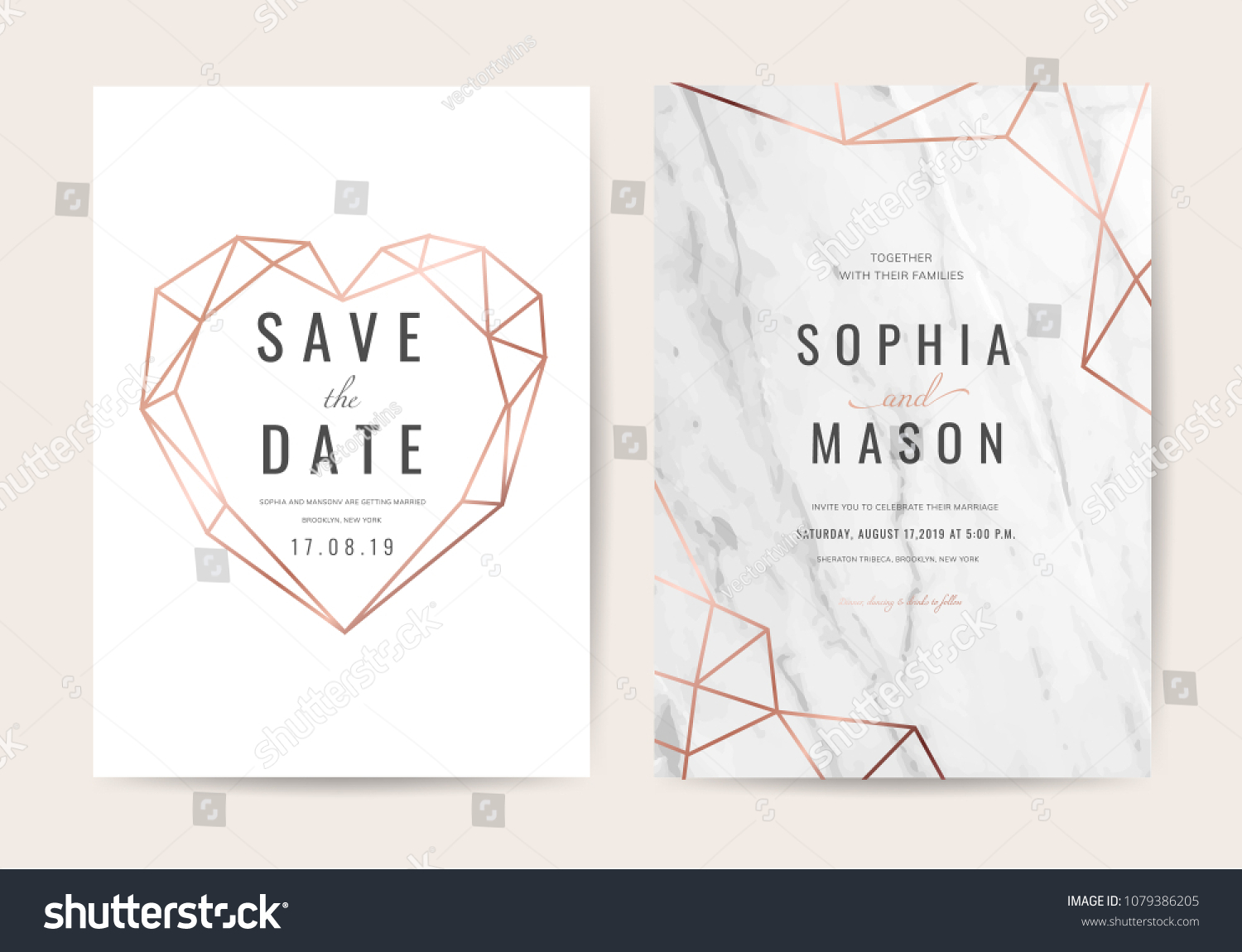 Wedding cards with marble background cover and rose gold texture #1079386205