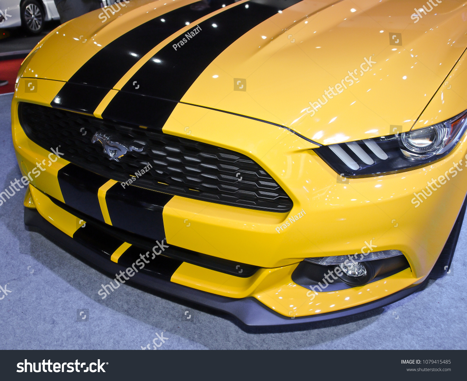 Jakarta april 24th 2018 a yellow ford mustang displayed at indonesia international motor