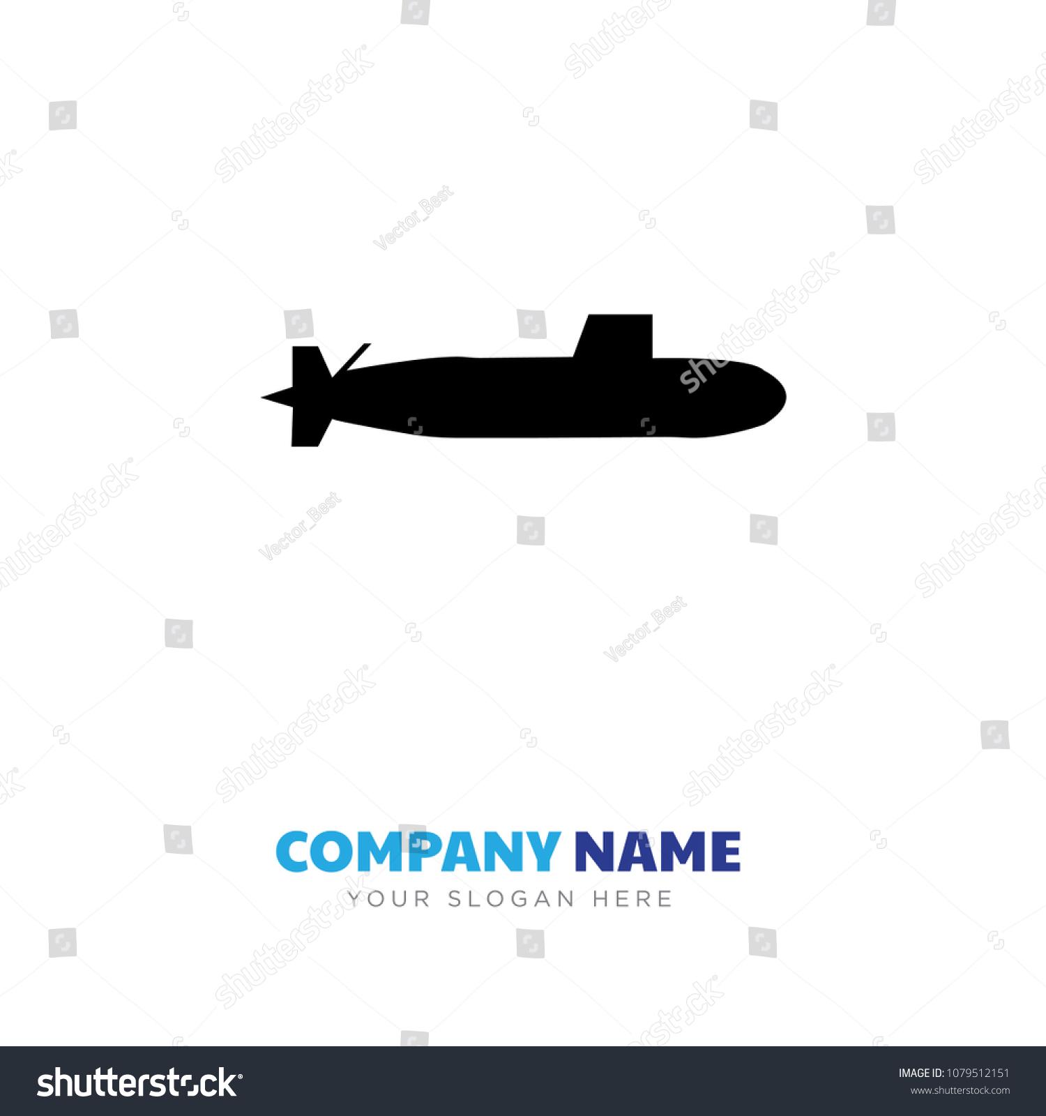 submarine company logo design template business stock vector