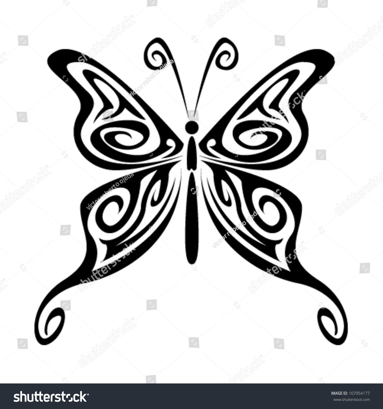 Tribal Butterfly Stock Vector Illustration 107954177 ...