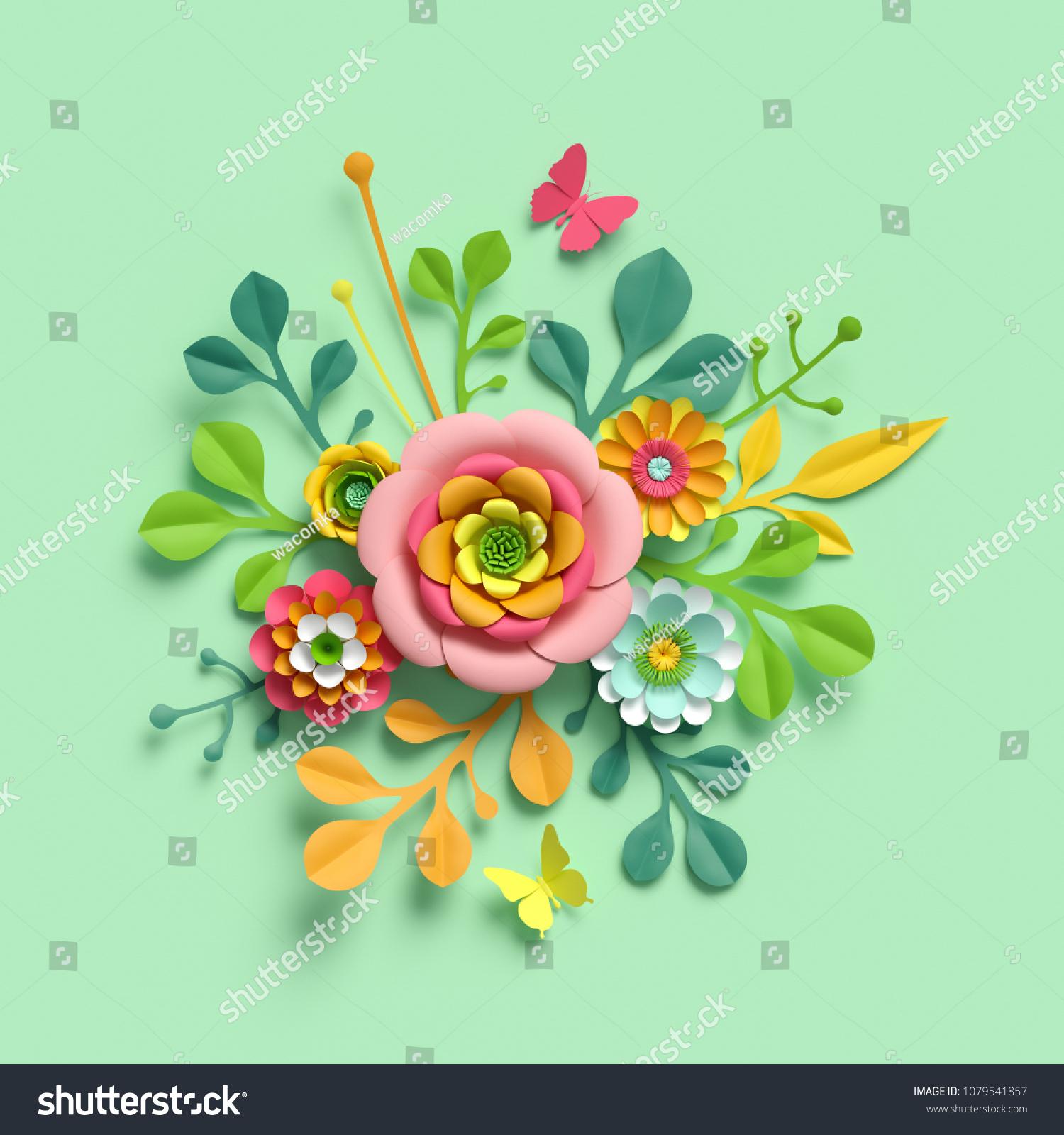 3 D Render Craft Paper Flowers Mothers Stock Illustration 1079541857