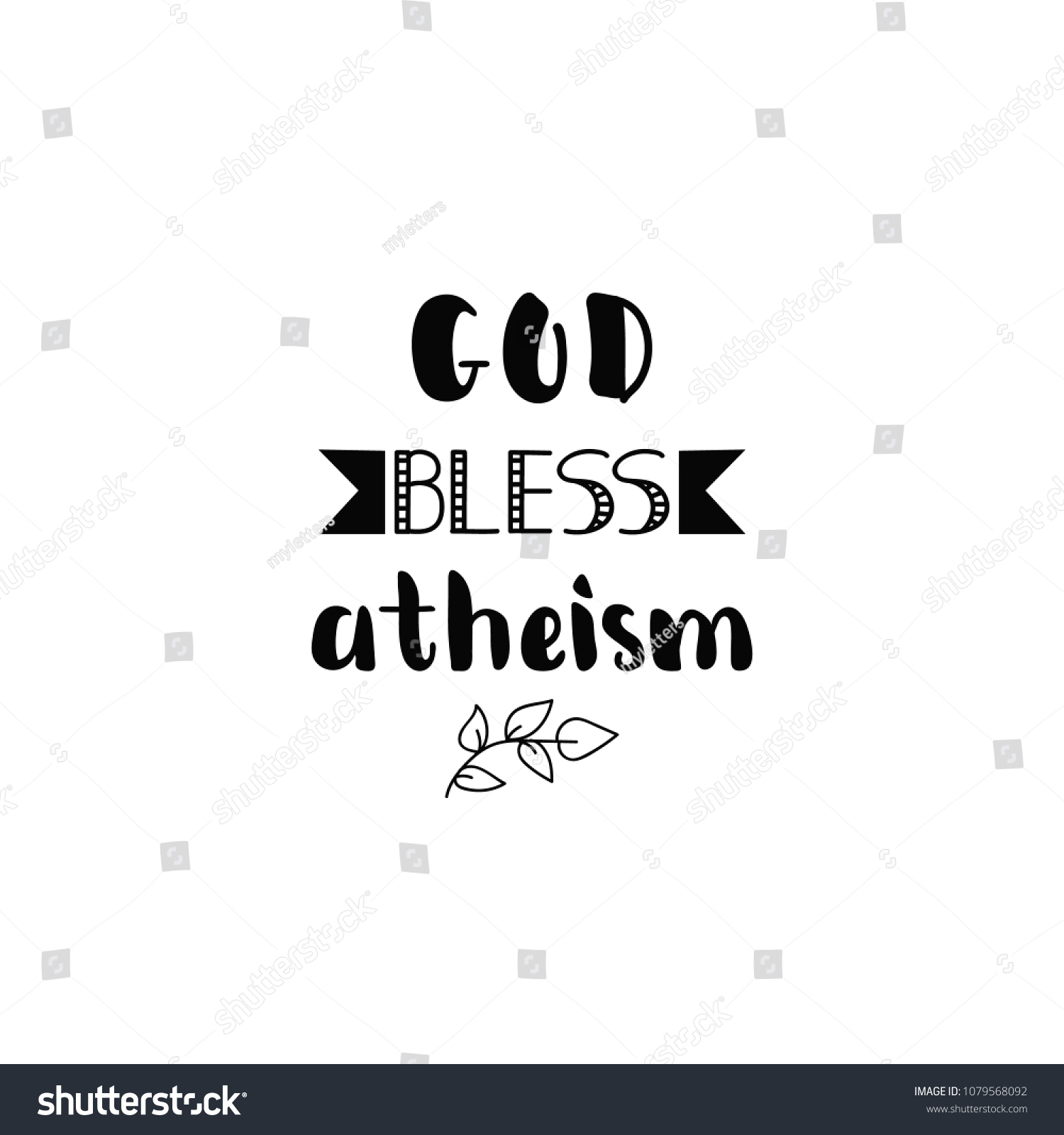 God Bless Ateism Hand Lettering Greeting Stock Vector (Royalty Free ...