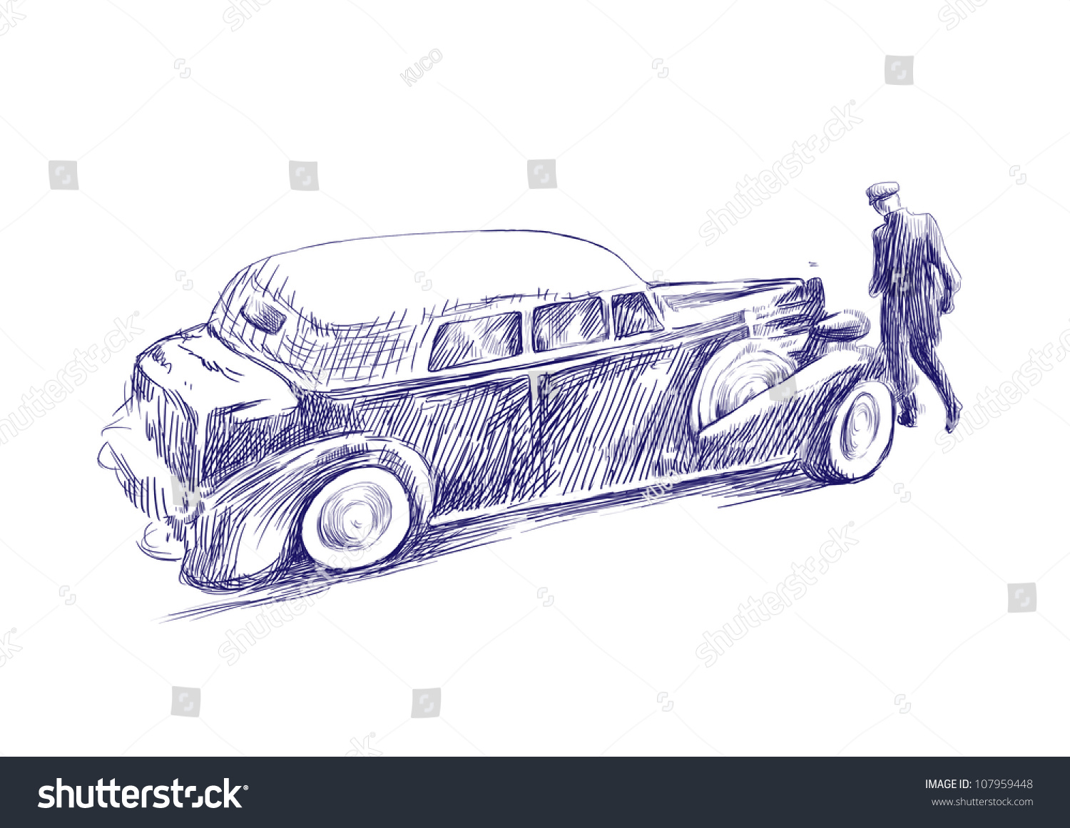 Vintage Theme Early 20th Century Driver Stock Illustration ...