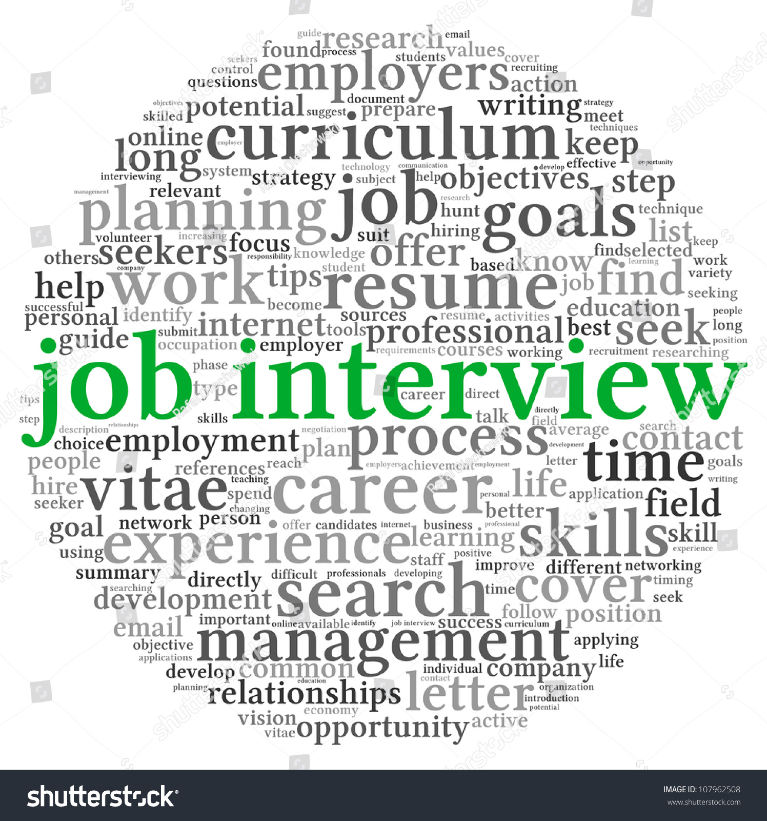 job interview concept in word tag cloud on white background stock save to a lightbox