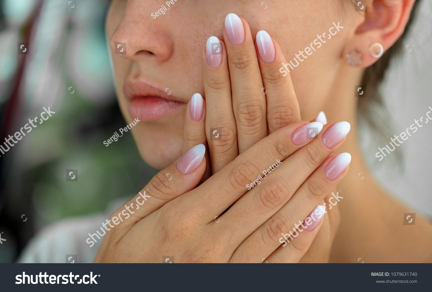 Beautiful Womans Nails Beautiful French Manicure Stock Photo (Safe ...