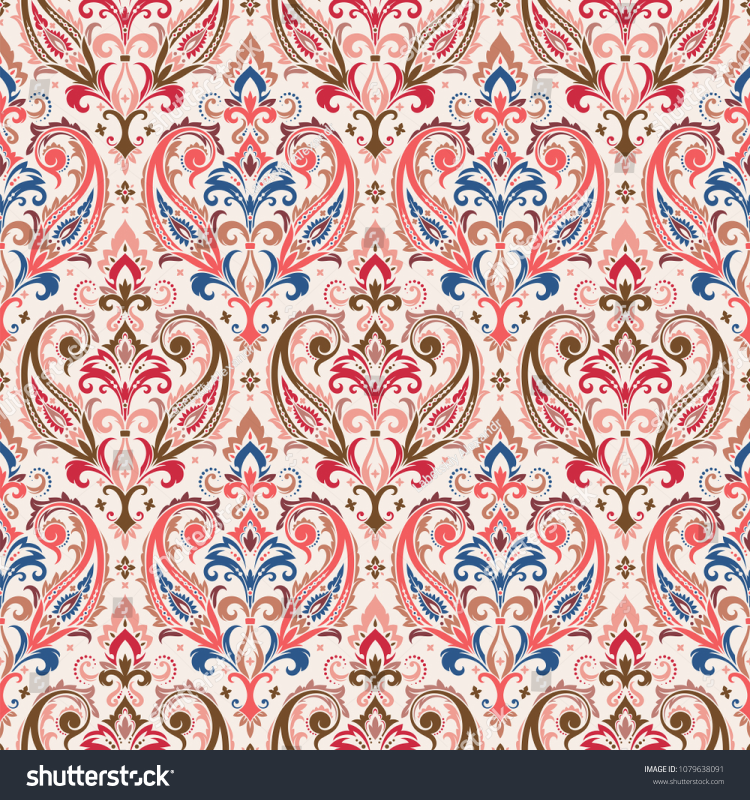 Seamless Pattern Based On Traditional Asian Elements Paisley Boho Vintage