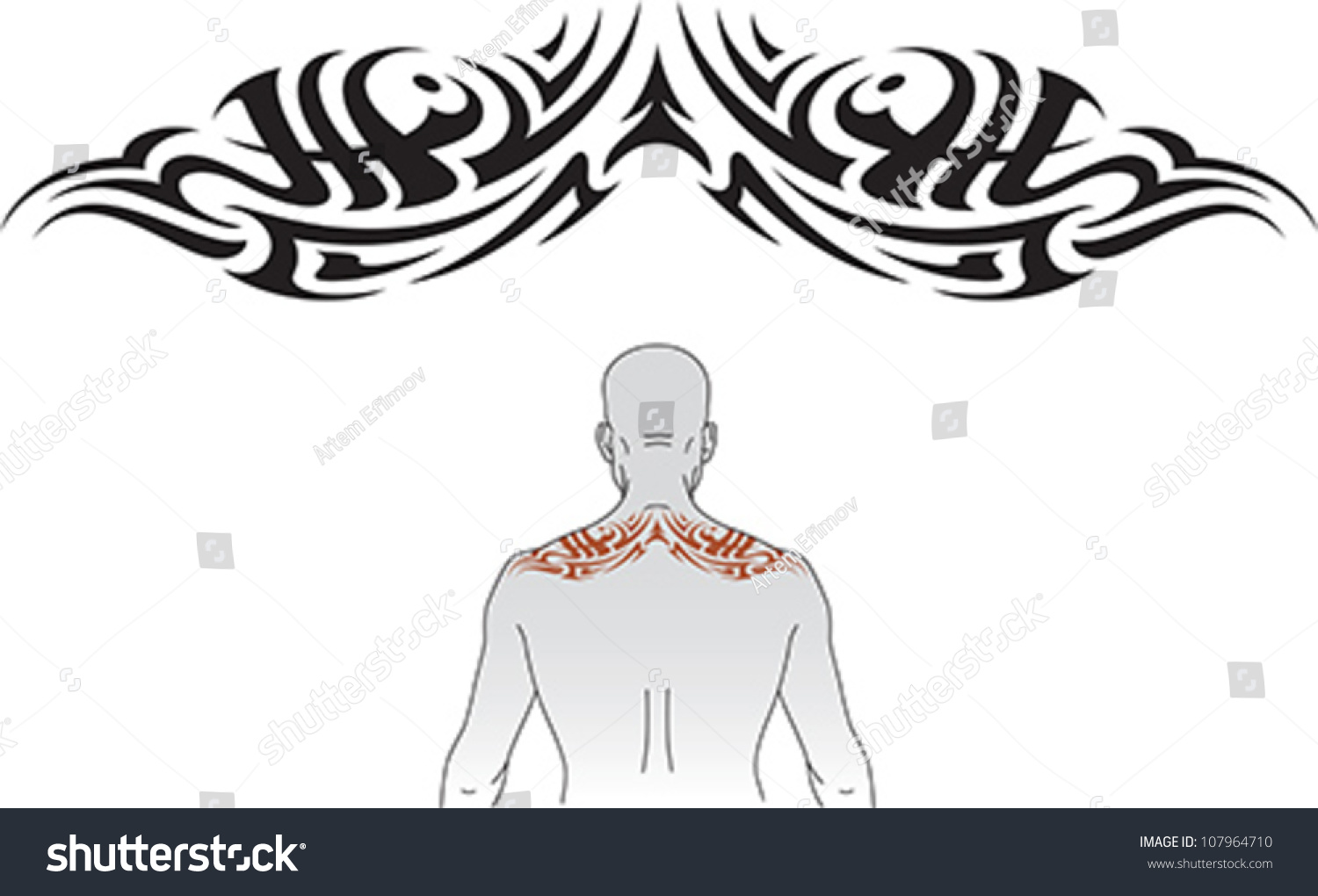 Tribal Styled Tattoo Pattern Fit Upper Stock Vector Royalty Free