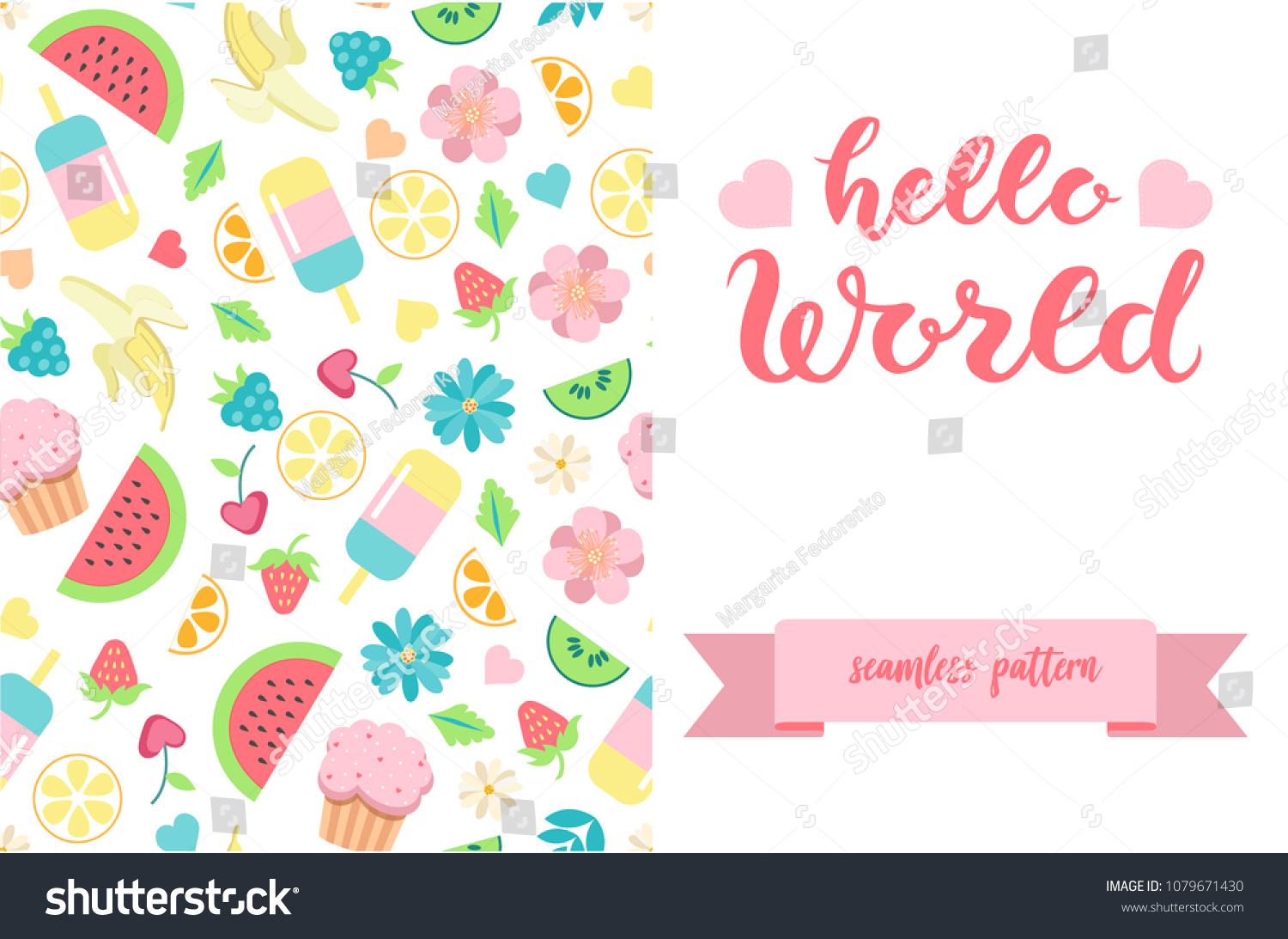 Double Sided Cute Greeting Card Template Stock Vector Royalty Free