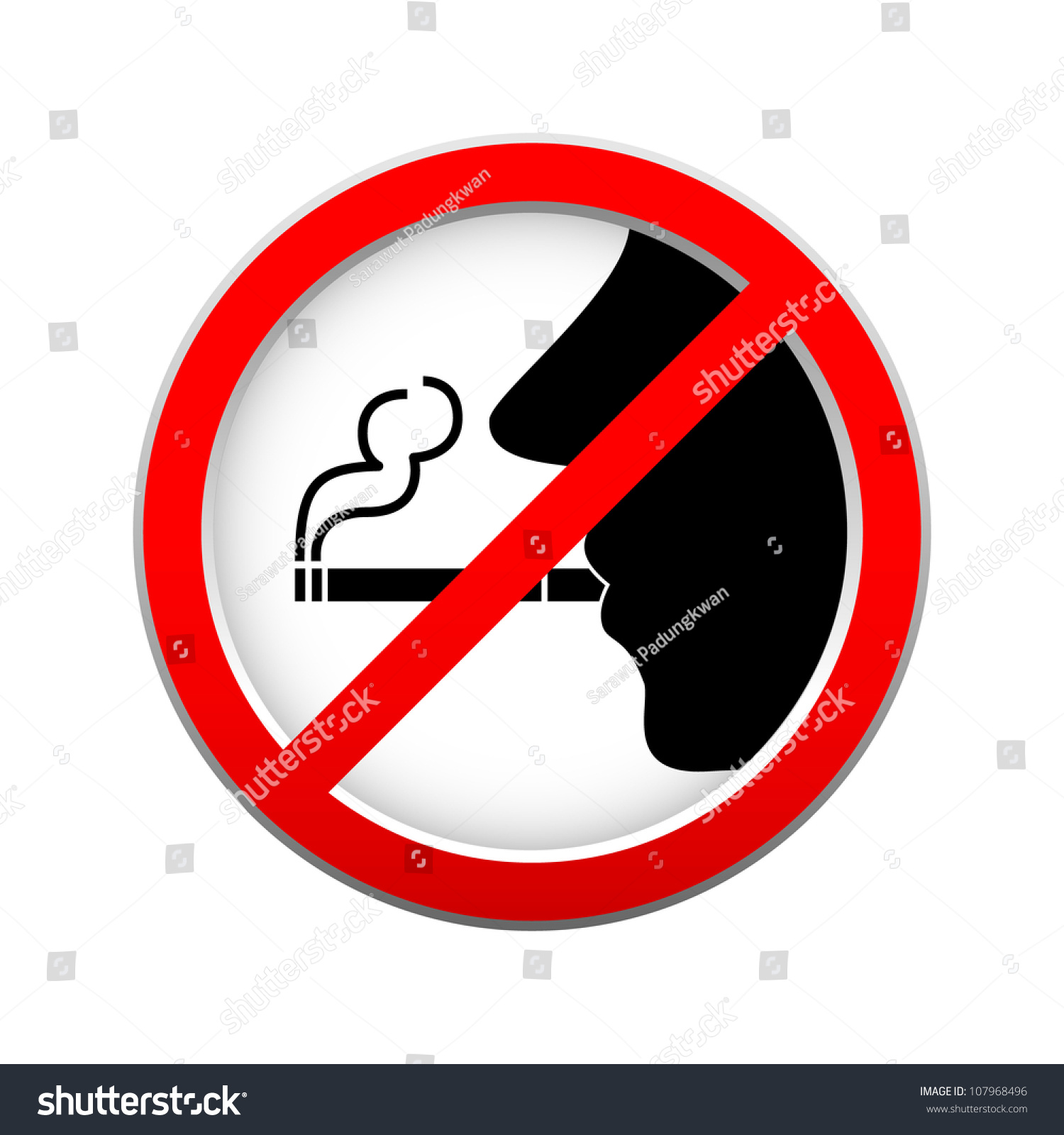 No Smoking Sign On White Background Stock Vector