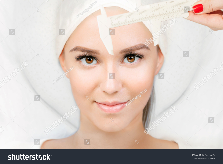 Permanent Makeup Eyebrows Microblading Brow Beautician Stock Photo