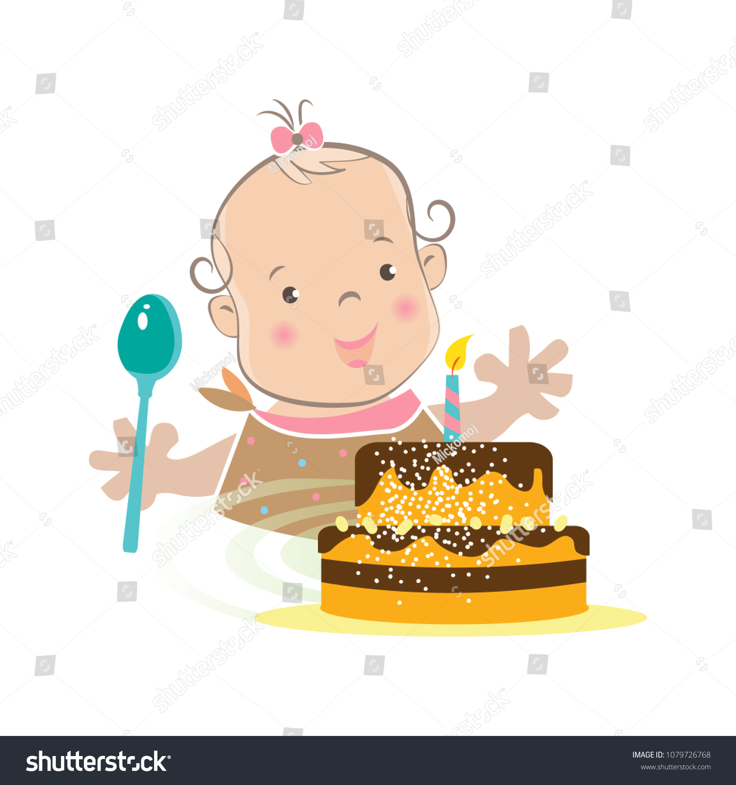 Swell Cute Baby Girl First Birthday Cake Stock Vector Royalty Free Funny Birthday Cards Online Elaedamsfinfo