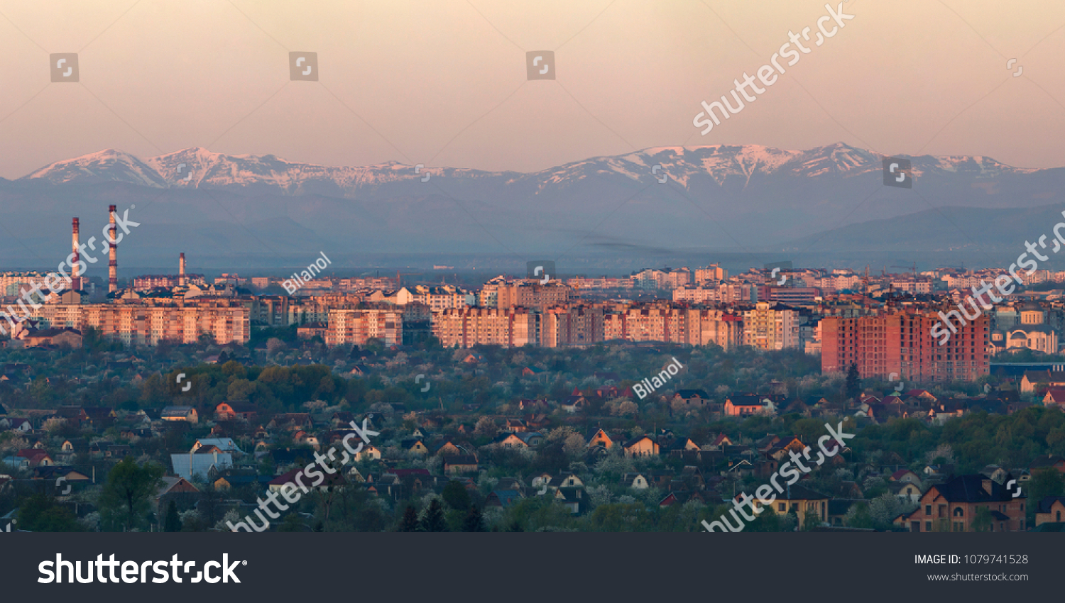 Wide Panorama Aerial View Ivano Frankivsk City Stock Photo (Edit Now