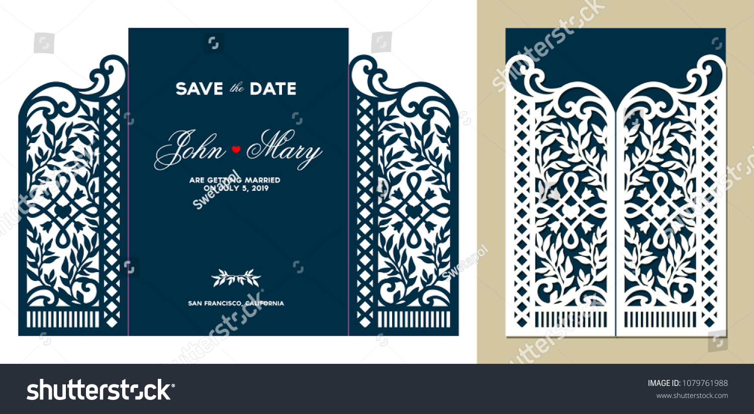 laser cutting floral gate door fold stock vector royalty free