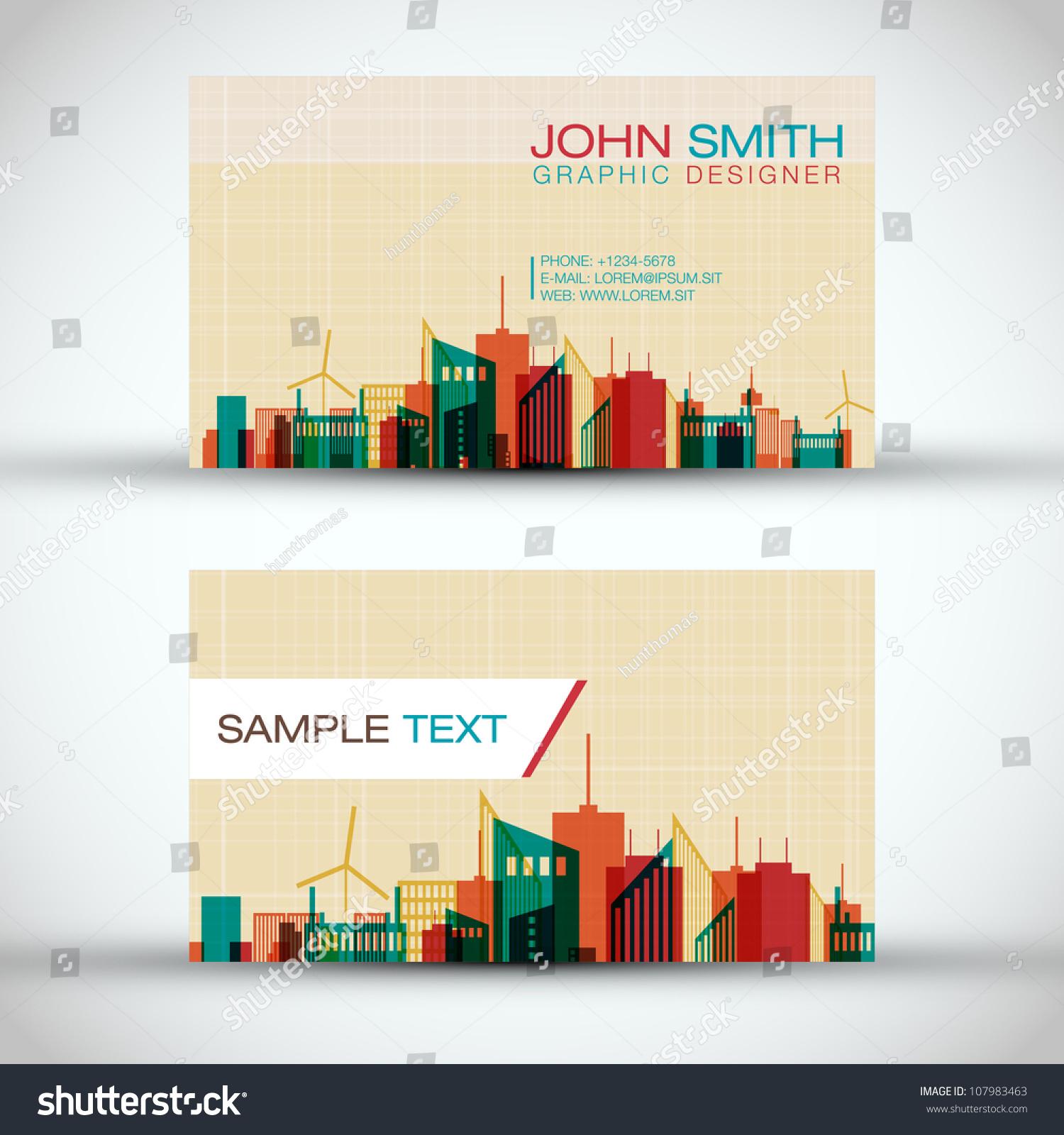 City Panorama Business Card Set Eps10 Stock Vector 107983463 ...
