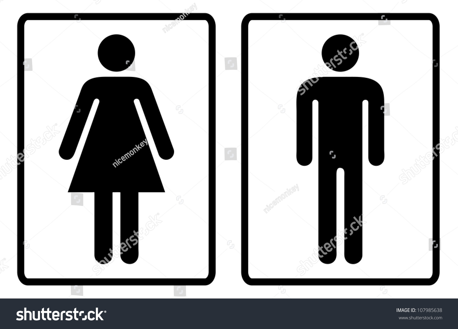 Simple Black White Male Female Toilet Stock Illustration 107985638 ...
