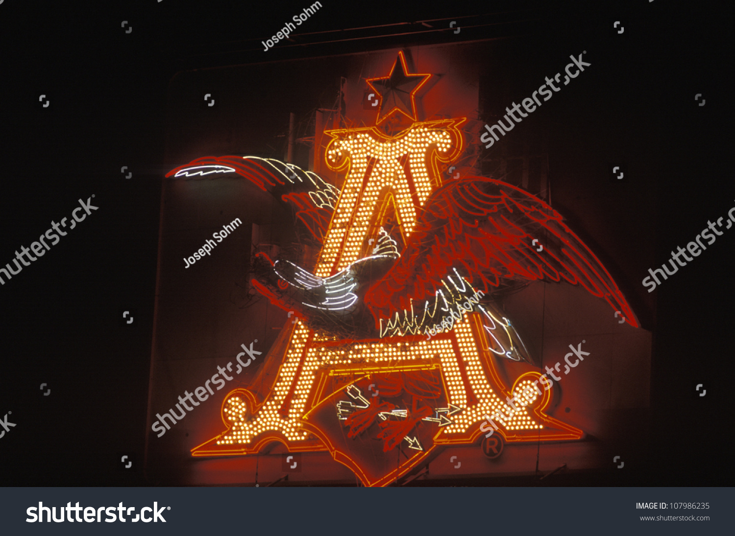 Neon Sign Showing Anheuser Busch Logo Stock Photo Edit Now