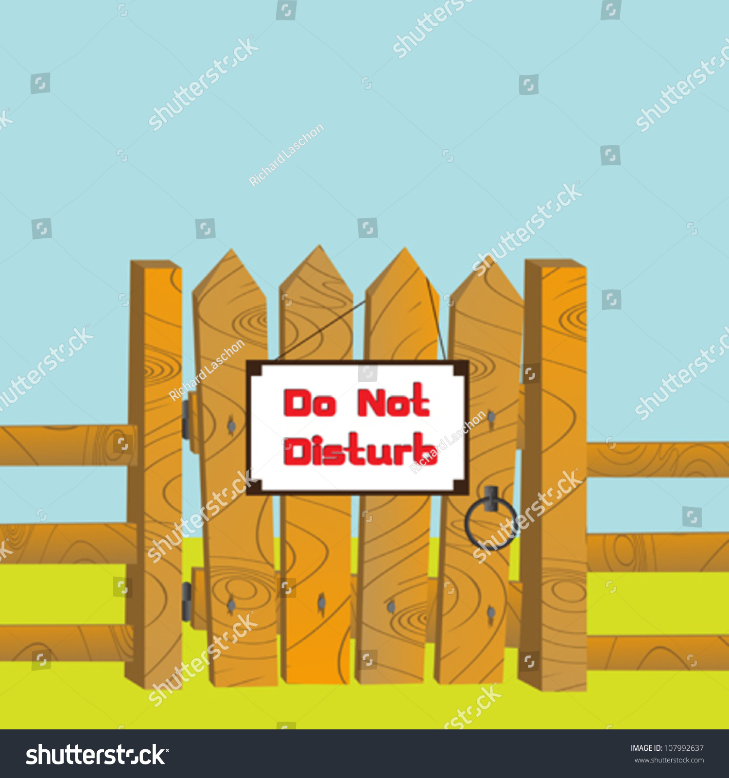 Cartoon style illustration wooden gate fence stock vector