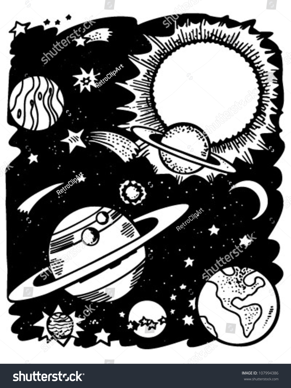 Outer Space Retro Clipart Illustration Stock Vector ...