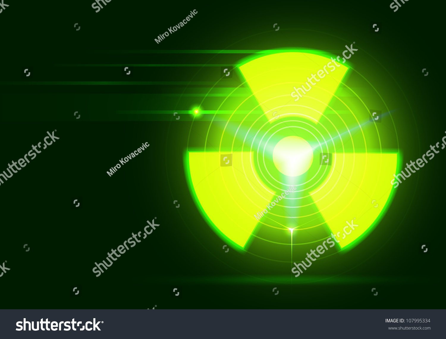 Raster Bio-Hazard Symbol On Dark Green Background, Vector ...