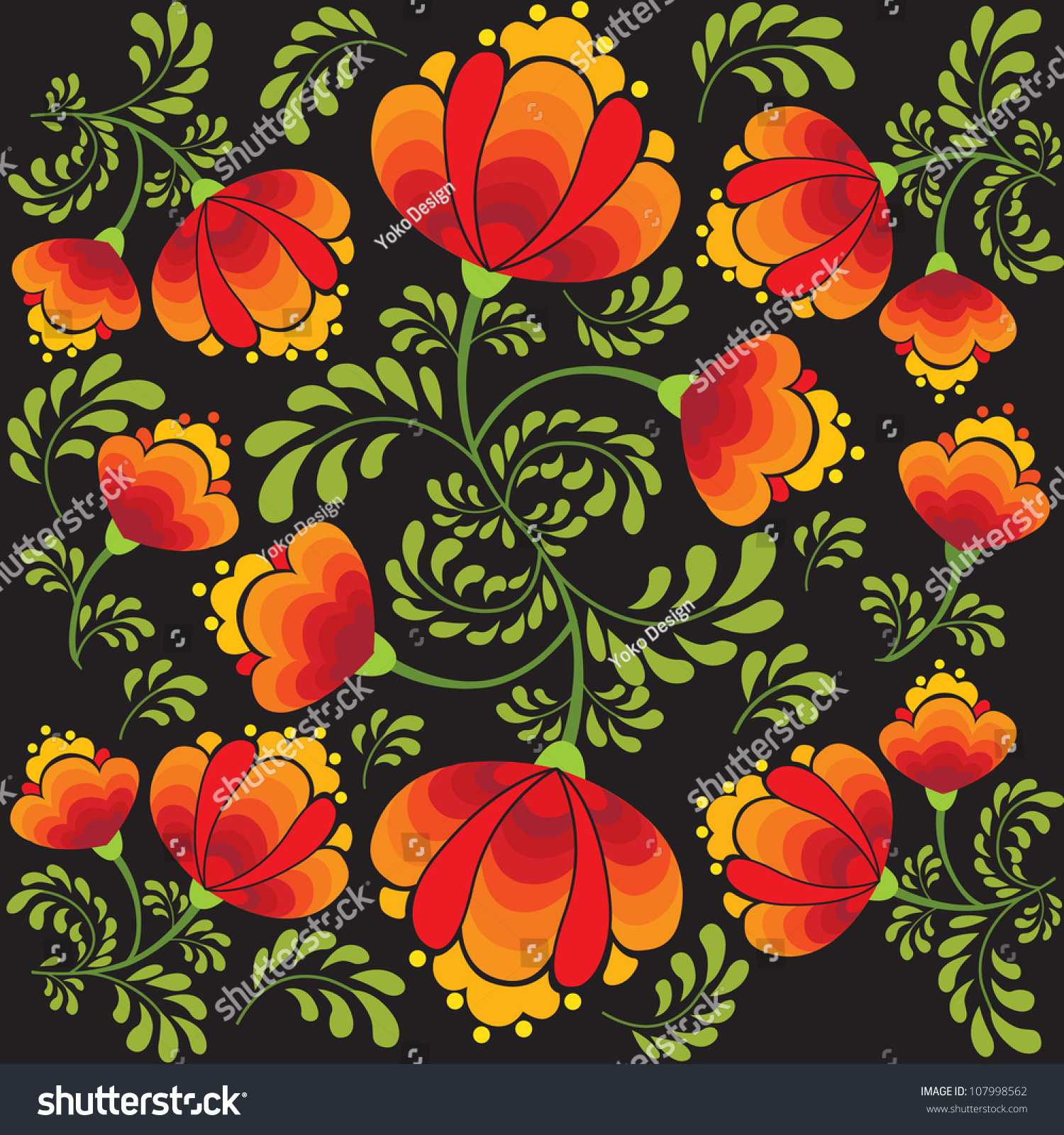 Russian National Floral Pattern Traditional Brand Stock ...