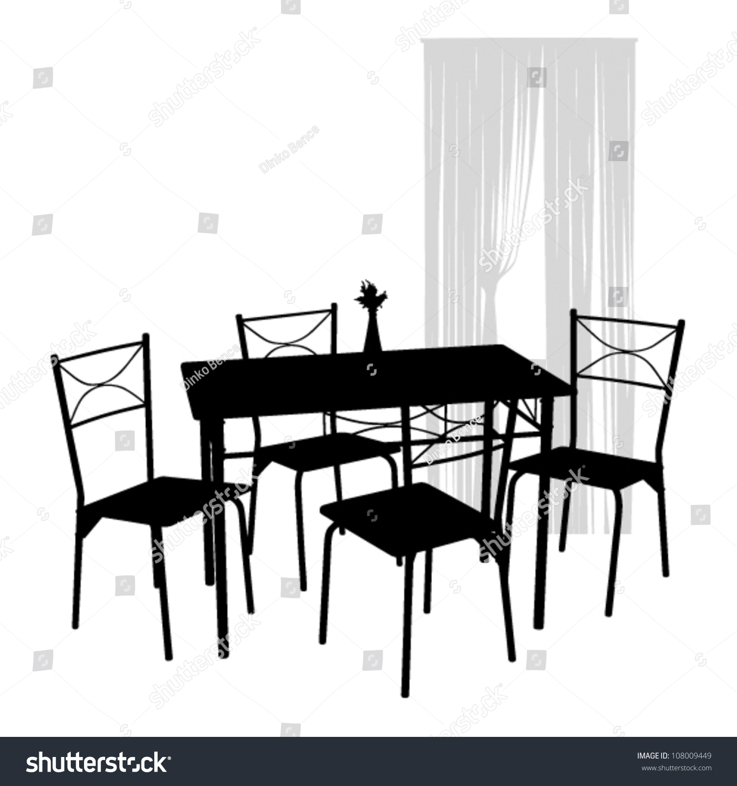 Chairs table dining room stock vector shutterstock