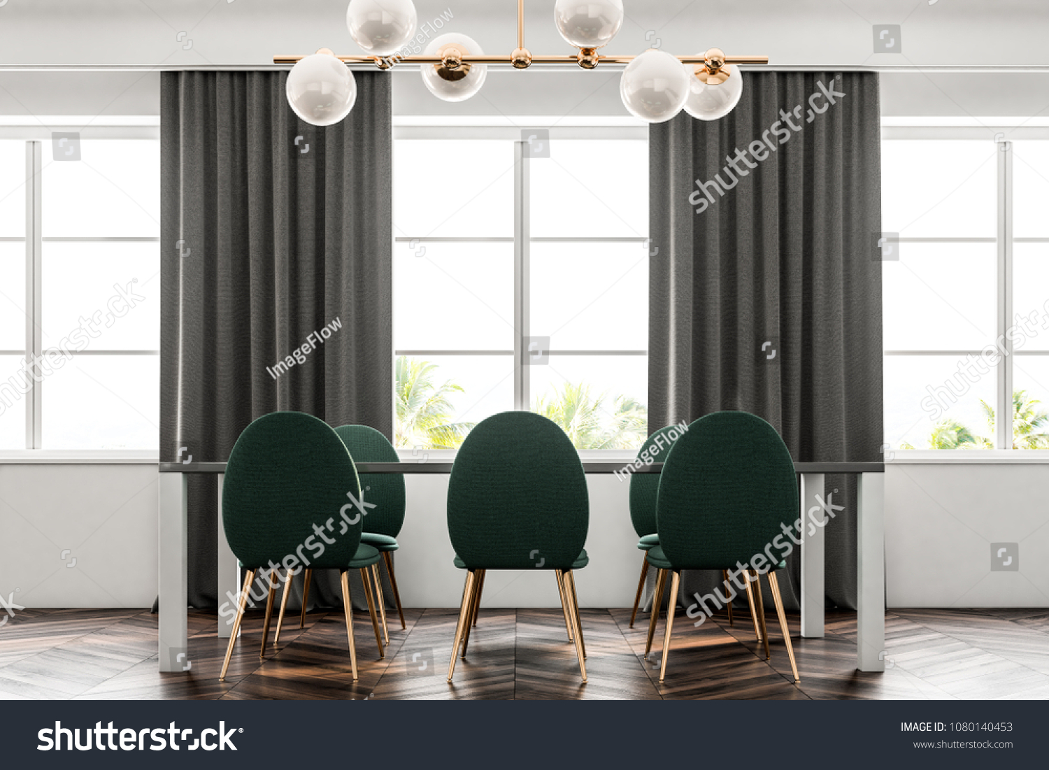 Luxury Dining Room Interior With A Dark Wooden Floor White Walls Large Windows