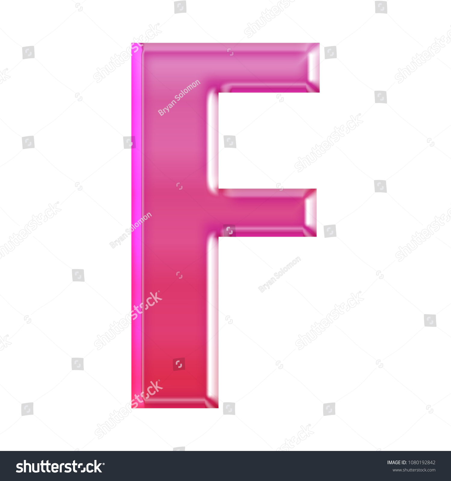 Shiny Pink Glass Letter F 3 D Stock Illustration 1080192842 ...