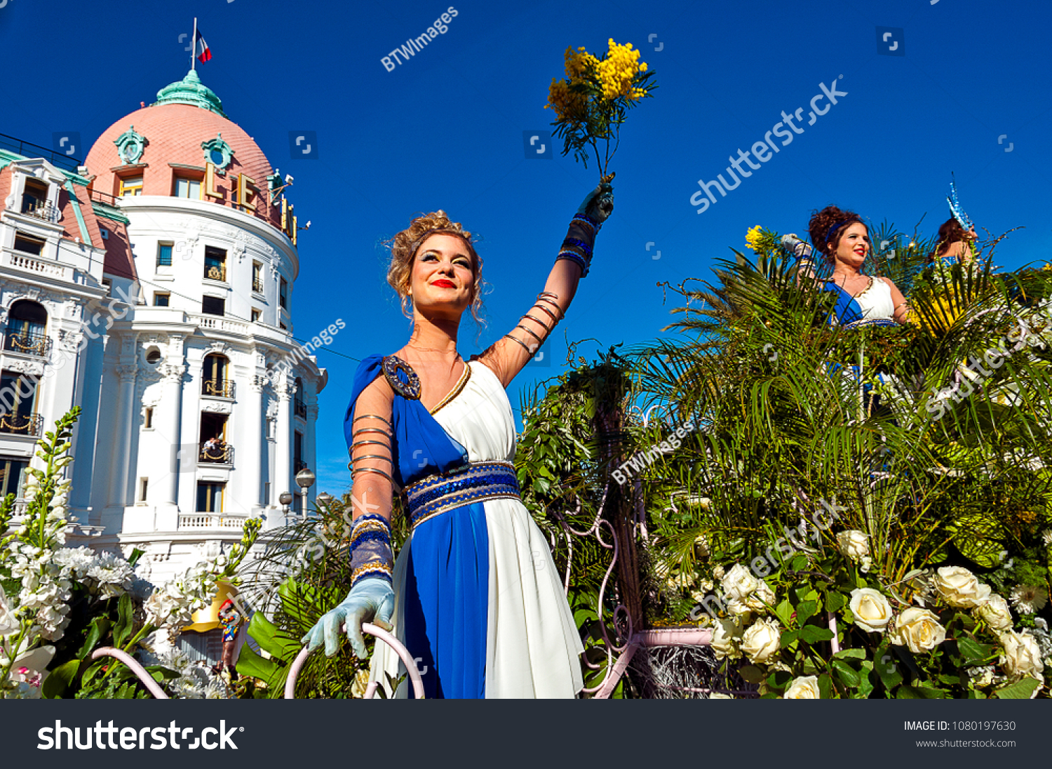 France, Alpes-Maritimes (06), Nice. Carnival, flower battle on the Promenade des Anglais #1080197630