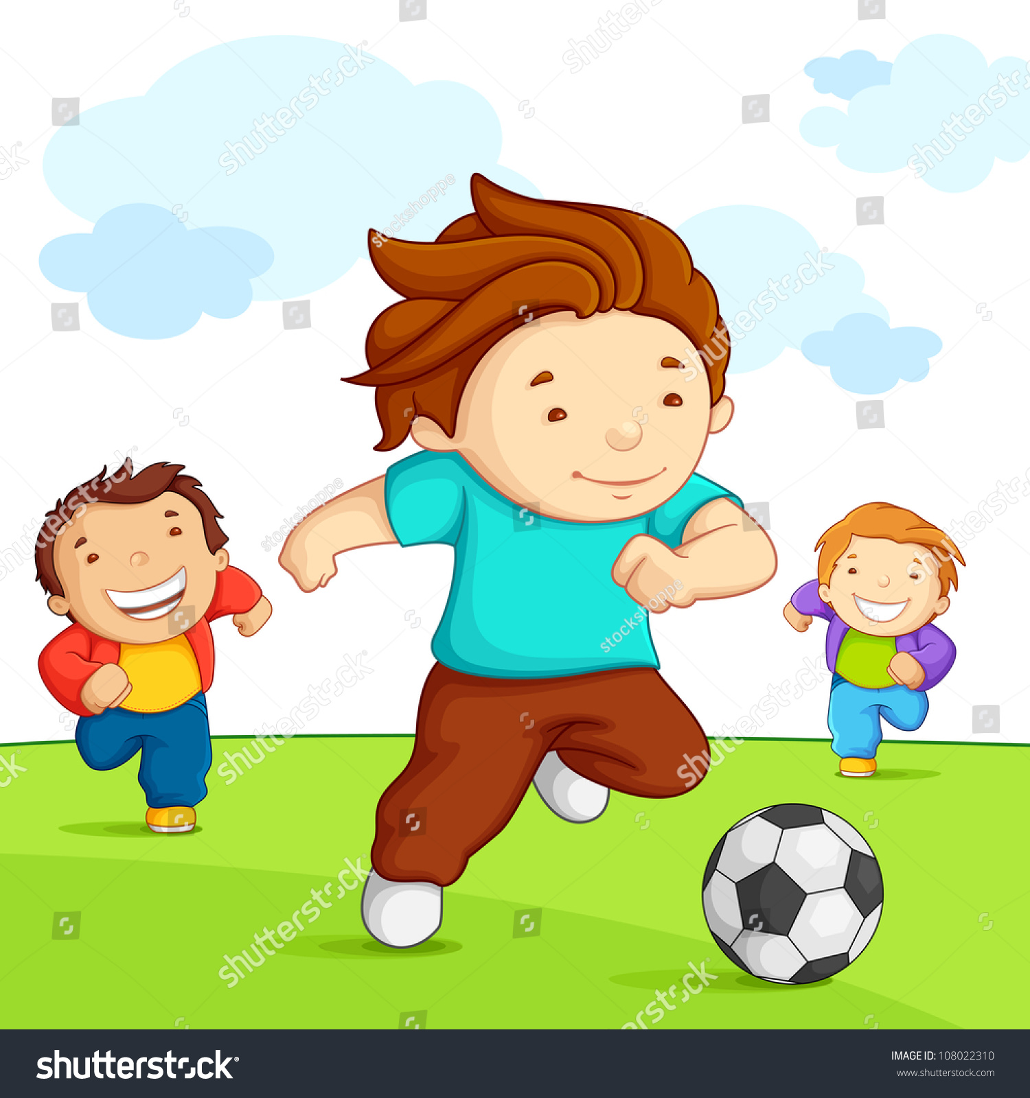 Vector Illustration Kid Playing Soccer Playground Stock ...