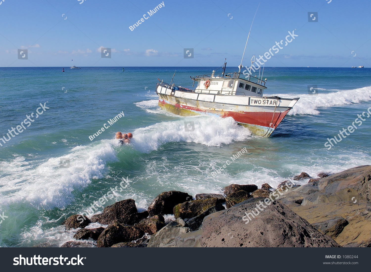 Fishing boat two star runs aground stock photo 1080244 for Shore fishing oahu