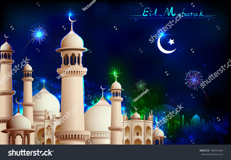 Illustration Eid Mubarak Greeting On Mosque Stock Vector Royalty