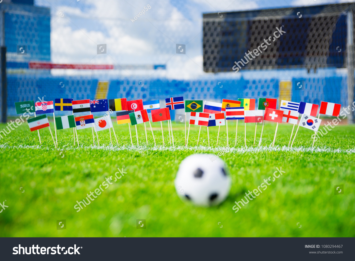 MOSCOW, RUSSIA - APRIL, 24, 2018: All nations flag of FIFA Football World Cup 2018 in Russia. Fans support concept photo. #1080294467