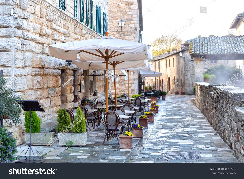 Street Bagno Vignoni Town Famous Hot Holidays Stock Image