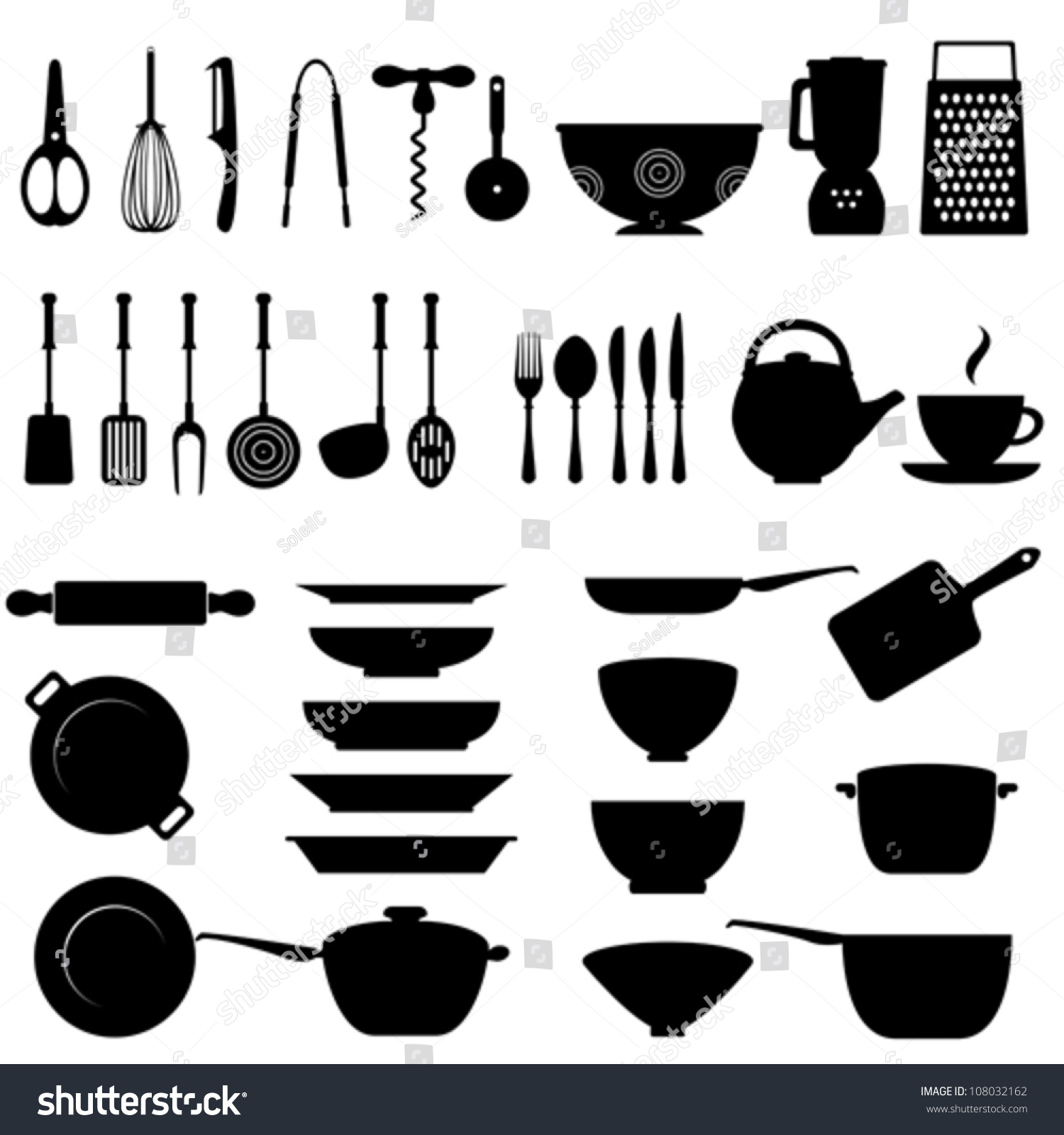 Kitchen utensils images - Kitchen Utensils And Tool Icon Set