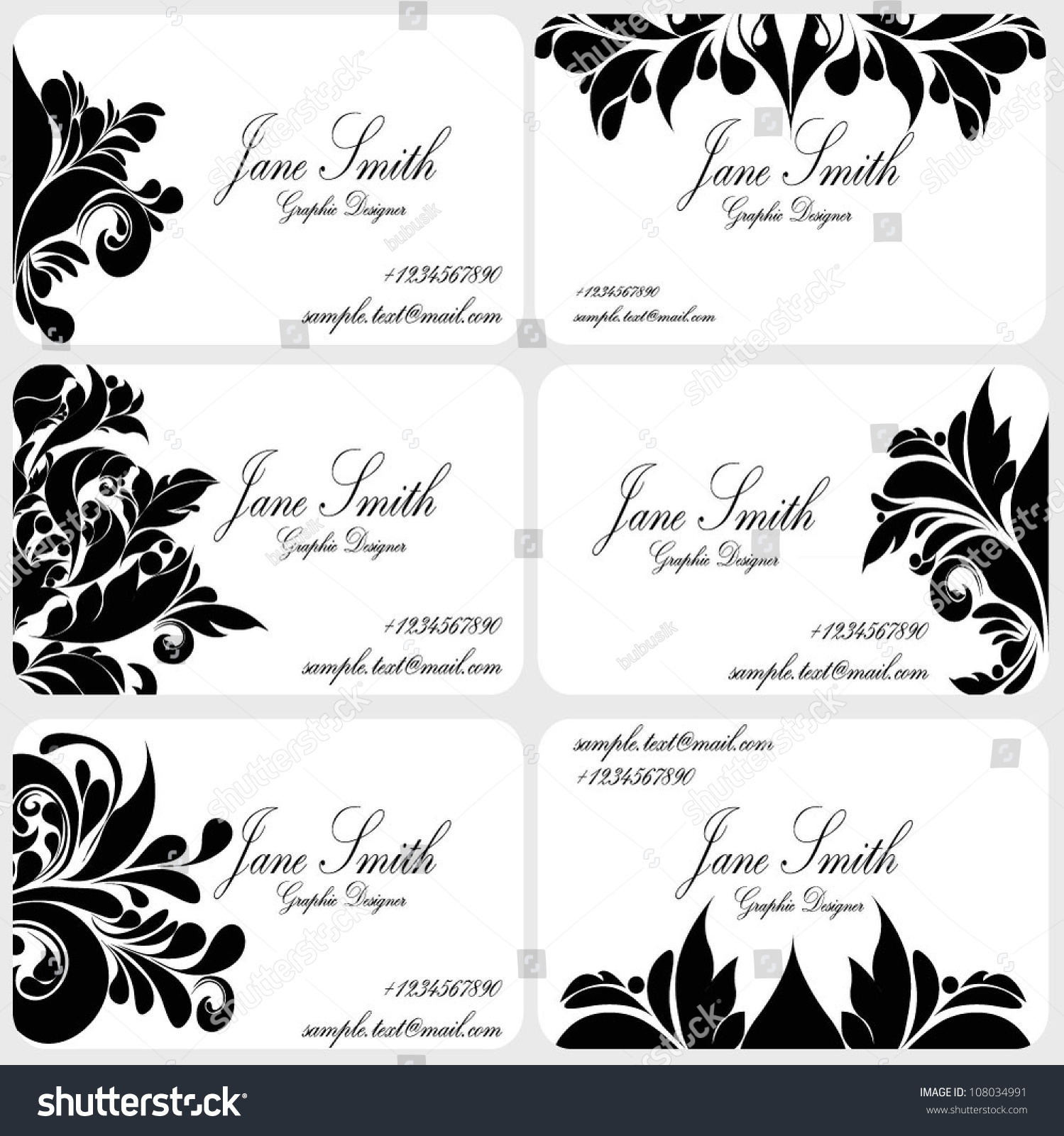 Damask Business Card Set Victorian Business Stock Vector 108034991 ...