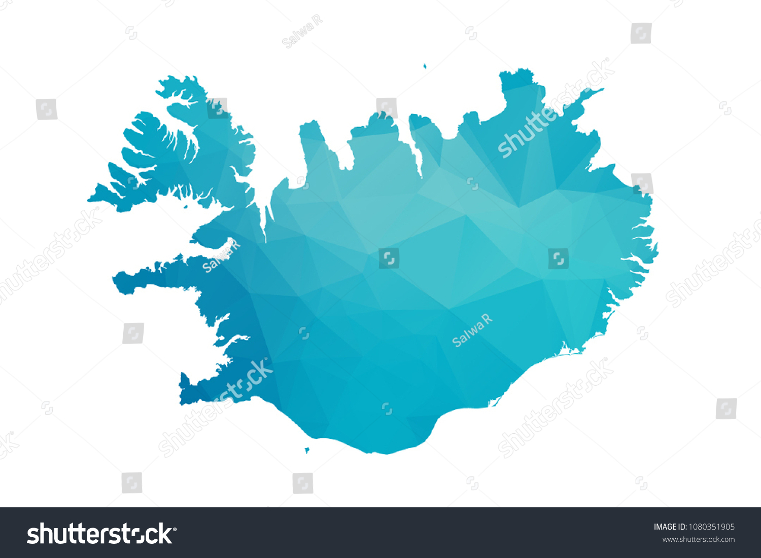 Iceland Map Vector Illustration Polygonal Style Low Stock Vector ...