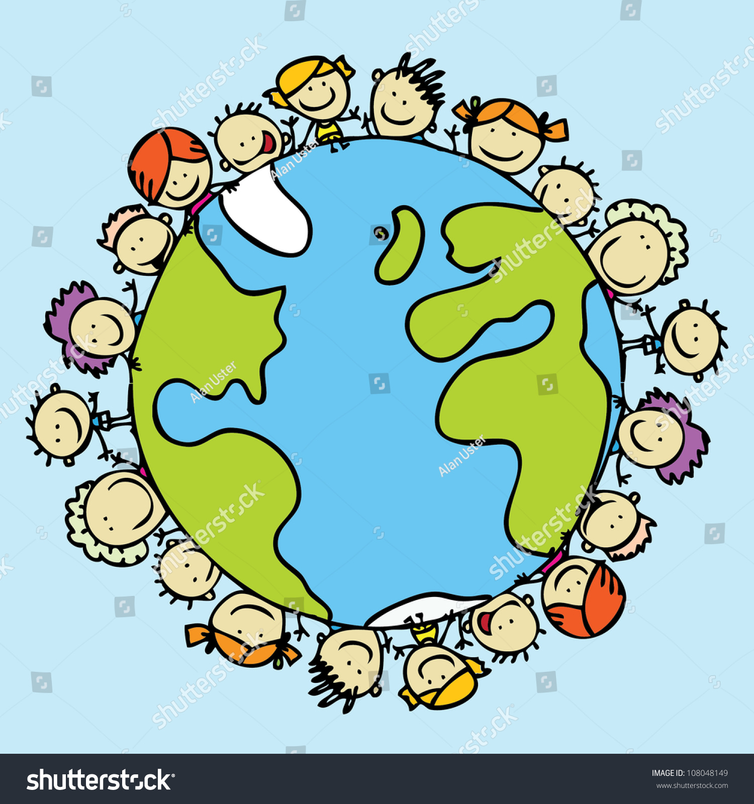 Planet Earth Drawing Children Kids Around The World Together Save
