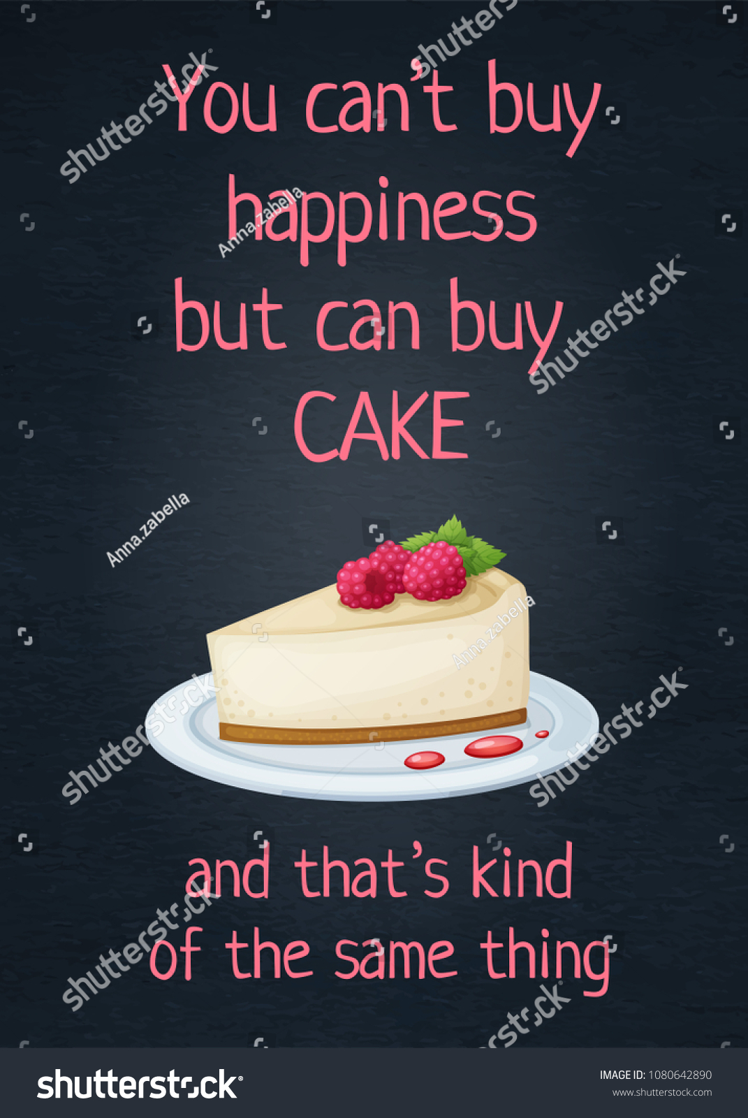 Food Quote You Cant Buy Happiness Stock Vector Royalty Free